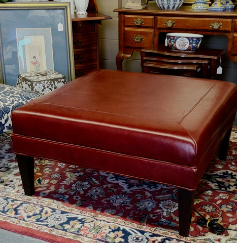 Leather Ottoman Red Square Cocktail Table