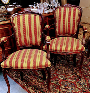 French Style Arm Chairs Louis XV Red Gold