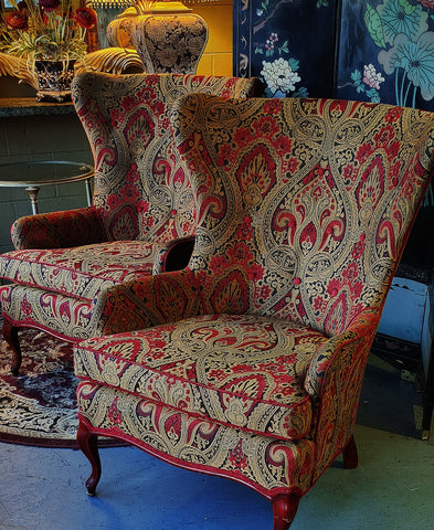 Vintage Wing Back Chairs Paisley Red