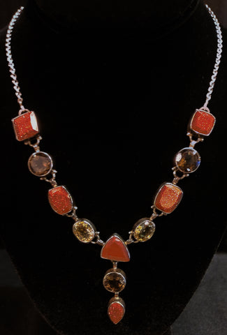 Chunky Stones Y Necklace Sterling Silver