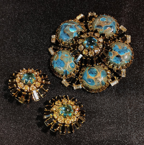 Vintage Schreiner Brooch Earrings Set
