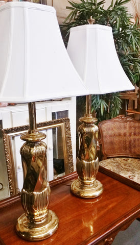 PAIR Mid-Century REMBRANDT Lamp Company Brass Lamps