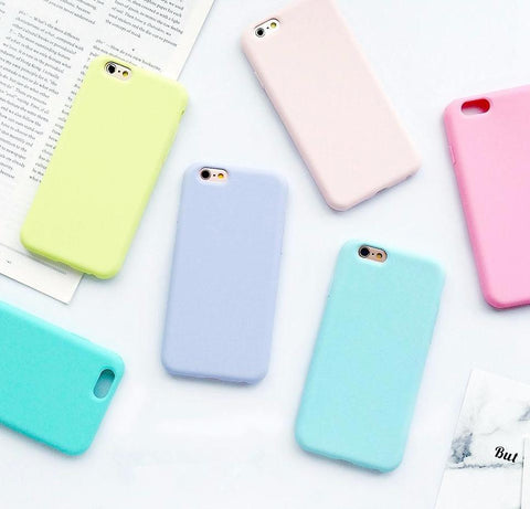 macarons-color-silicone-frosted-matte-iphone-cases