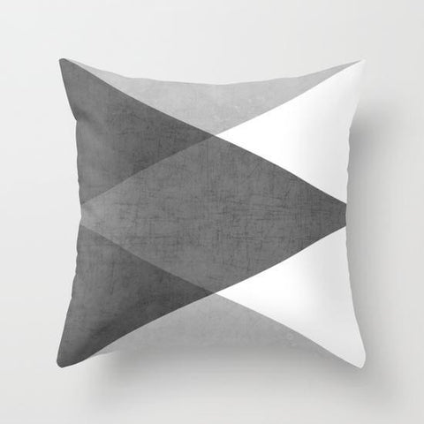 Grayscale Triangle Throw Cushion