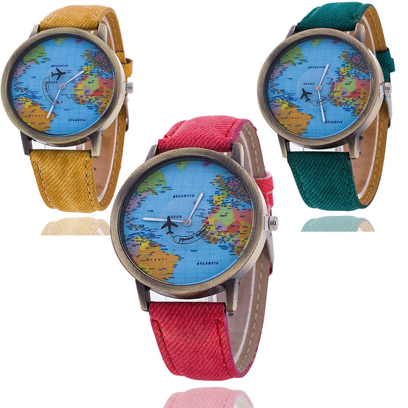 Watch World Travel Map Quartz Watch 7 Colors