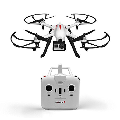 Force1 F100 Ghost GoPro-Compatible Drone - Hero 3 or 4 Camera-Ready Quadcopter w/ Brushless Motors for Long, Ultra-Quiet Flight (Camera not Included)