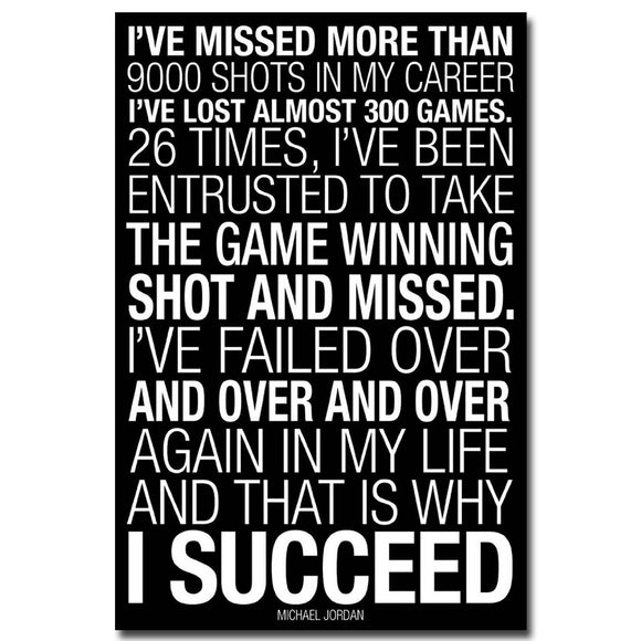 WHY I SUCCEED - Michael Jordan Motivational Quotes Art Silk Fabric Poster Print 12x18 20x30 24x36 inches 004