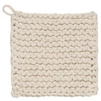 "Knitted Pot Holder - Natural, 8"" Square - Ettiene Market"