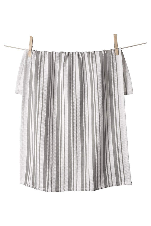 Basketweave Stripe Towel - Light Grey - Ettiene Market