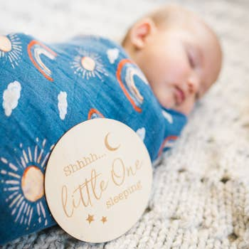 Children's Muslin Swaddle Blanket – Sun & Rainbows - Ettiene Market