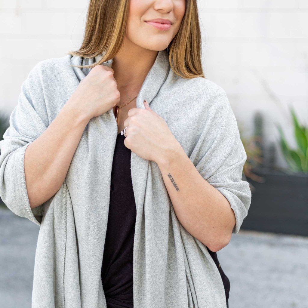 Organic Cotton Travel Scarf- Light Grey