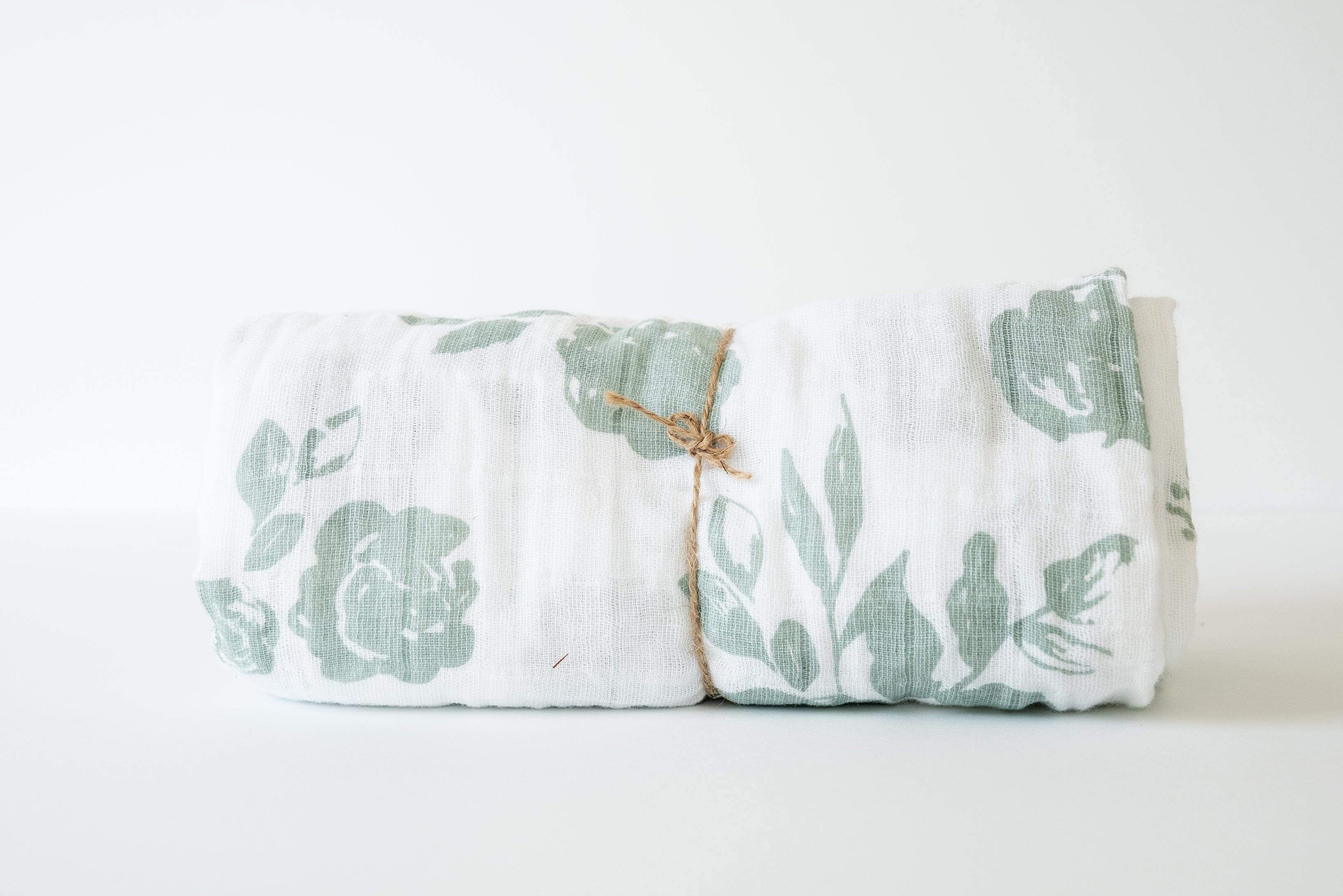 Baby Muslin Swaddle Blanket, Vintage Green Floral-White Background