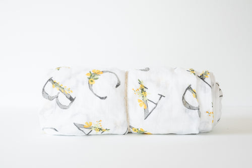 Baby Muslin Swaddle Blanket - Floral ABC