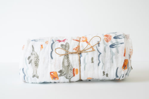 Baby Muslin Swaddle Blanket - Ocean Animals