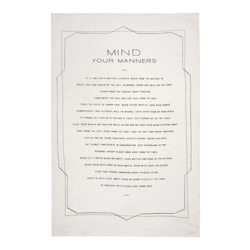 Sir Madam Tea Towel - Mind Your Manners - Ettiene Market