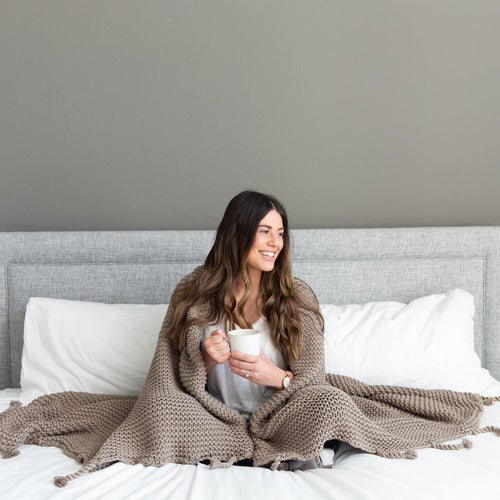 Organic Cotton Comfy Knit Throw- Stone