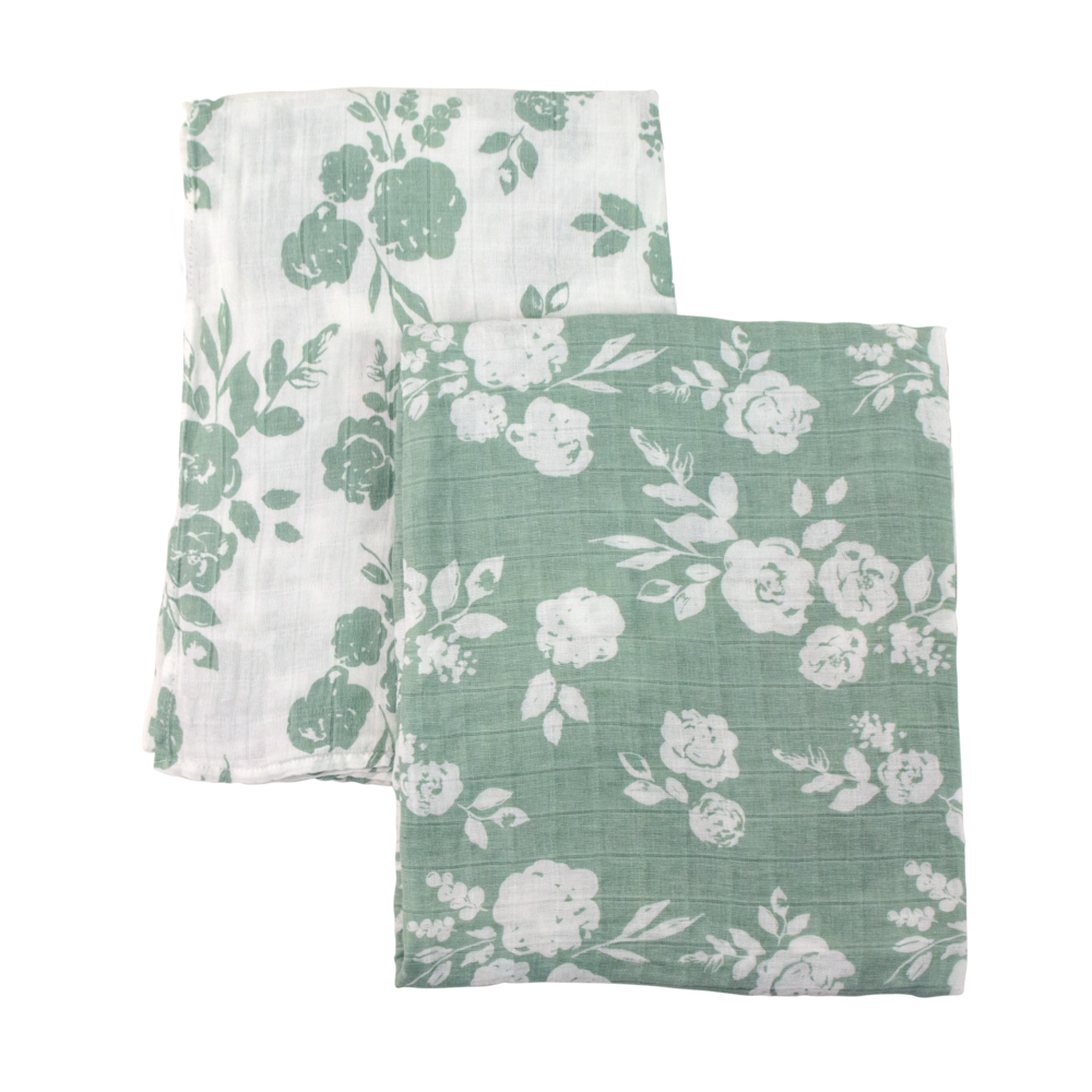 Baby Muslin Swaddle Blanket, Vintage Green Floral-Green Background