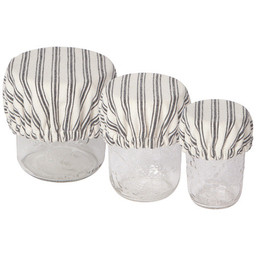 Cloth Bowl Cover / Mini- Ticking Stripe, Set of 3