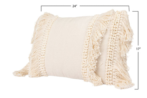 Cotton and Chenille Woven Lumbar Pillow w/ Fringe- Cream
