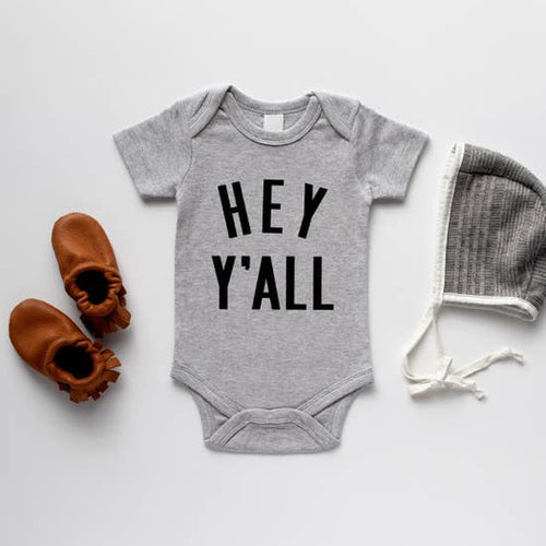 Organic Baby Onesie - Hey Y'all, Grey