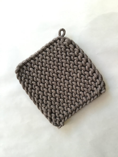 "Knitted Pot Holder - Grey, 8"" Square - Ettiene Market"
