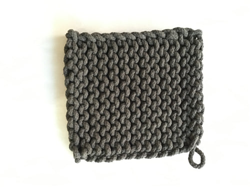 "Knitted Pot Holder - Pewter, 8"" Square - Ettiene Market"
