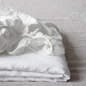 Linen Fitted Sheet, King -White