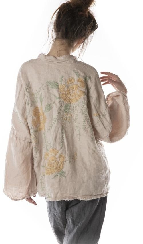 Magnolia Pearl 364, Hand Embroidered Floral Kimono Jacket