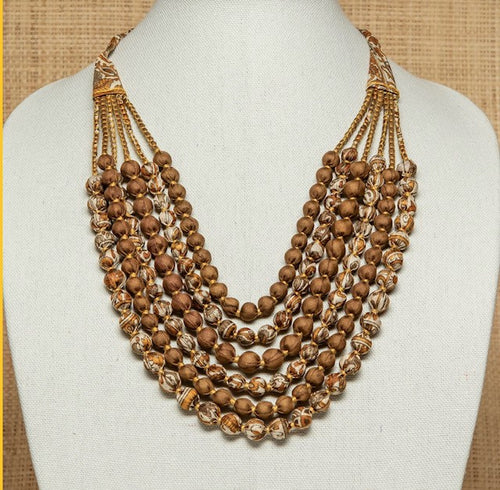 Vintage Silk Sari Necklace - Olive