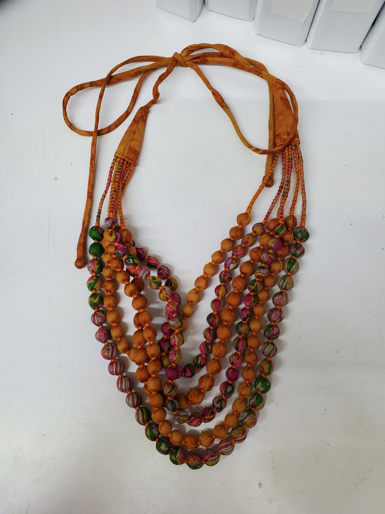 Vintage Silk Sari Necklace - Marigold