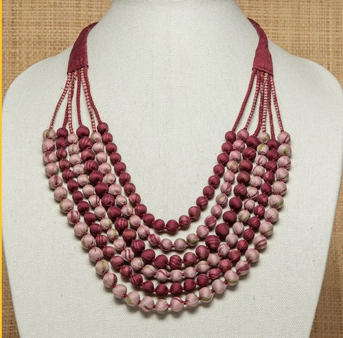 Vintage Silk Sari Necklace - Rangoon