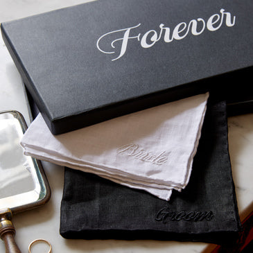 Linen Embroidered Handkerchief - Forever