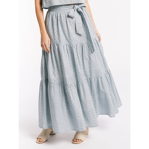 Tiered Maxi Skirt, Indigo