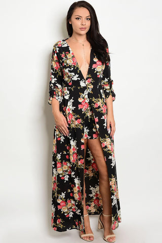 Plus size hi-low romper with allover floral print|Select Size 1XL|