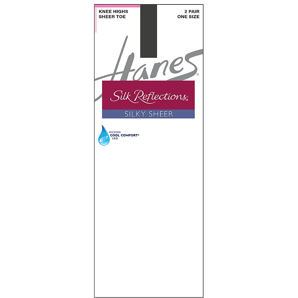 Hanes Silk Reflections Silky Sheer Knee Highs 2-Pack|Size One Size|Color Barely Black