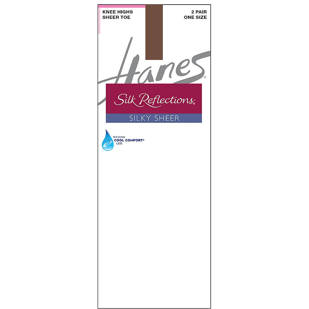 Hanes Silk Reflections Silky Sheer Knee Highs 2-Pack|Size One Size|Color Gentlebrown