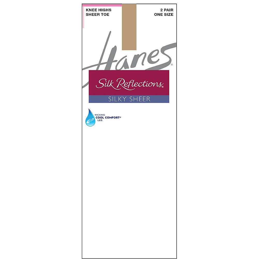 Hanes Silk Reflections Silky Sheer Knee Highs 2-Pack|Size One Size|Color Little Color