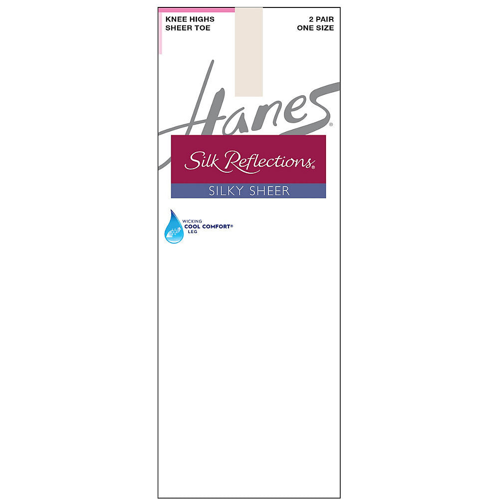 Hanes Silk Reflections Silky Sheer Knee Highs 2-Pack|Size One Size|Color Pearl