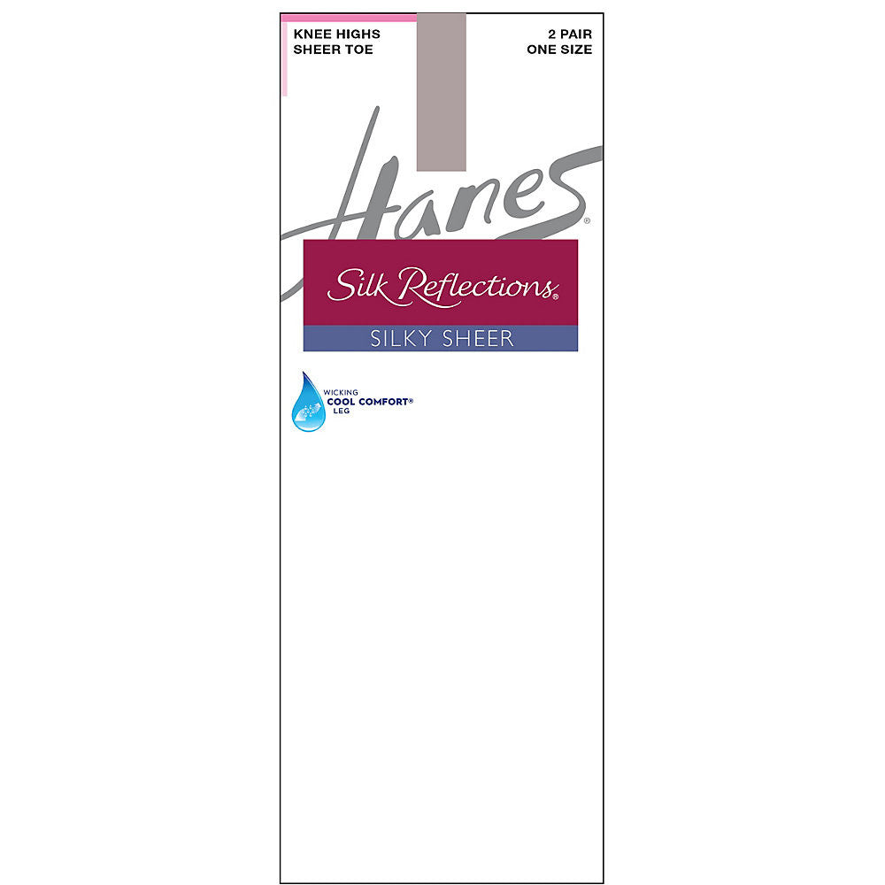 Hanes Silk Reflections Silky Sheer Knee Highs 2-Pack|Size One Size|Color Soft Taupe
