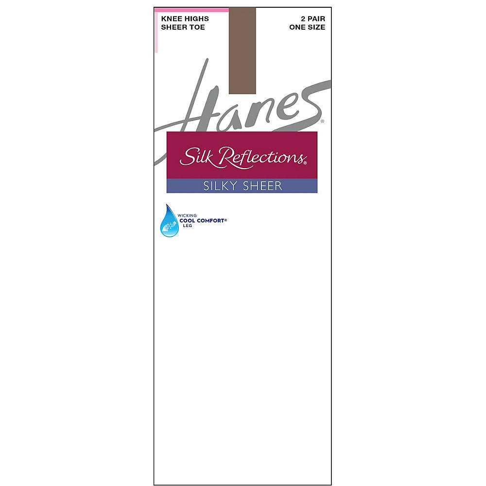 Hanes Silk Reflections Silky Sheer Knee Highs 2-Pack|Size One Size|Color Town Taupe