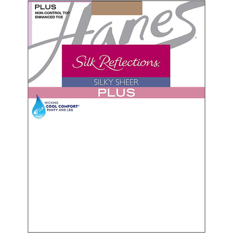 Hanes Silk Reflections Plus Enhanced Toe Sheer Pantyhose|Size PP|Color Barely There