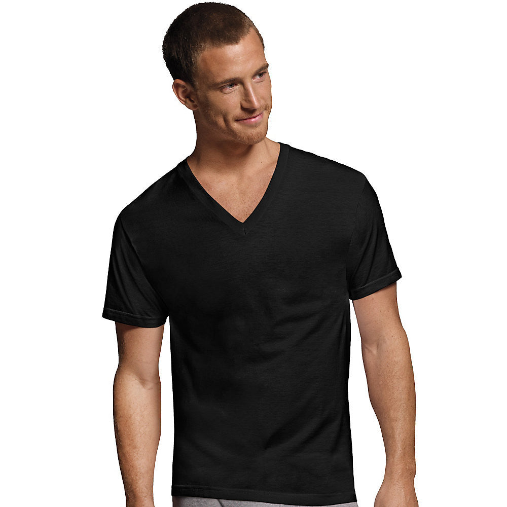 Hanes Men's Dyed ComfortSoft® TAGLESS® V-Neck Undershirt 4-Pack|Size S|Color Black and Grey