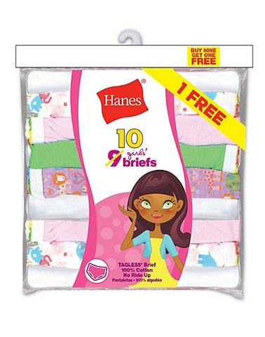 Hanes Girls' ComfortSoft Briefs 10-Pack (Includes 1 Free Bonus Bikini Brief)