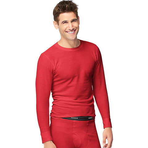 Hanes Men's X-Temp™ Thermal Crew|Size S|Color Red