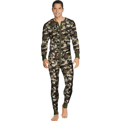 Hanes Men's X-Temp™ Camo Thermal Union Suit|Size S|Color Camo