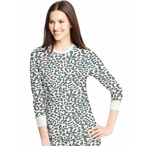 Hanes Women's X-Temp™ Thermal Printed Crew|Size S|Color Snow Leopard