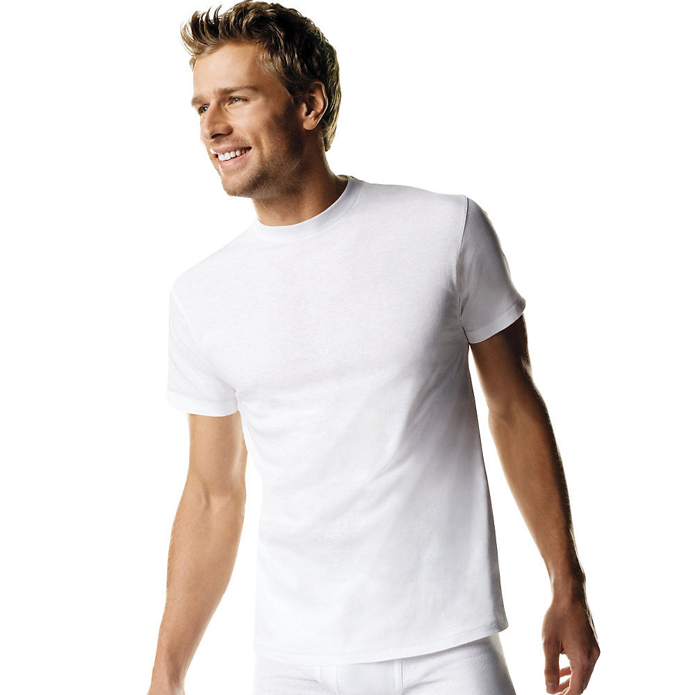 Hanes Men's TAGLESS® ComfortSoft® Crew Undershirt 4X-5X 5-Pack|Size 4XL|Color White