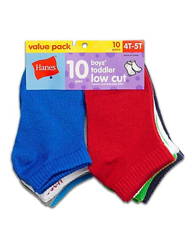 Hanes Boys' Toddler Low Cut 10-Pack