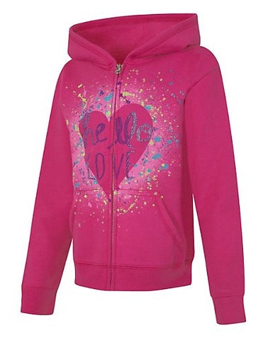 Hanes EcoSmart Girls' Heart Full-Zip Hoodie Sweatshirt