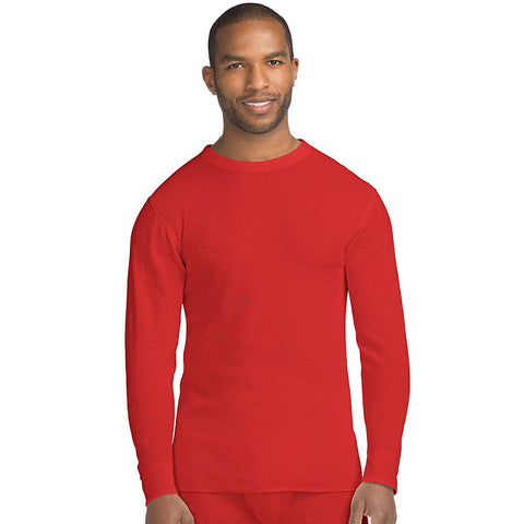 Hanes X-Temp™ Men's Organic Cotton Thermal Crew|Size S|Color Red